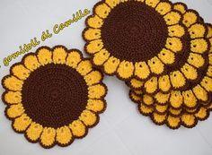 Image Article – Page 764978686680902657 Diy Crochet Flowers, Crochet Sunflower, Crochet Flower Tutorial, Crochet Leaves, Crochet Flower Patterns, Crochet Chart, Crochet Motif, Crochet Doilies, Crochet Placemats
