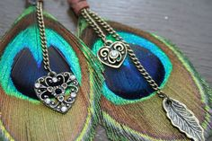 Peacock Love Feather Earrings by JazdyneDesigns on Etsy, $25.00