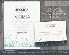 Wildflower Wedding Invitation Set - Rustic Spring Wedding Invites with Wildflowers Colors Changeable- Summer Wedding Digital printable File
