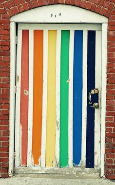 rainbow stripes door portal roy g. Cool Doors, Unique Doors, Door Knockers, Door Knobs, Portal, Gazebos, When One Door Closes, Closed Doors, Doorway