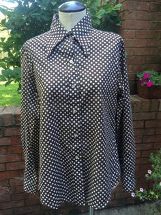 Vintage Brown and White Polka Dot Long Length Shirt/Blouse #JCPenney