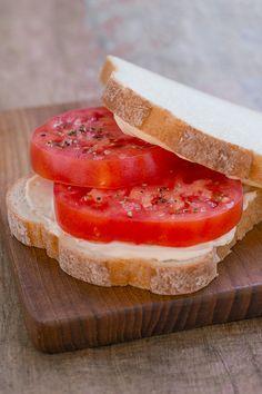 Hellmann's Mayonnaise, salt, pepper, and ripe tomatoes make for a super fresh sandwich.