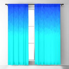 Electric Blue Ombre Flames / Light Blue To Dark Blue Blackout Window Curtains & Drapes by Angela Chang - x - Set of Two Light Blue Curtains, Ombre Curtains, Light Blocking Curtains, Blackout Windows, Window Curtains, Teen Bedroom, Bedroom Ideas, Angela Chang