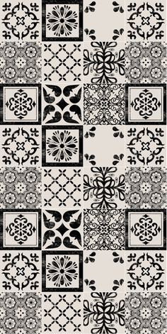 Mexican Black Mix Wallpaper Removable Vinyl Wallpaper - Peel & Stick - No Glue, No Mess Mexican Blac Vinyl Wallpaper, Pattern Wallpaper, Tile Patterns, Pattern Art, Pattern Design, Garde Corps Design, Tuile, Tiles Texture, Decoupage Paper