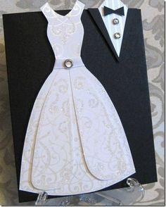 Wedding Dress Card by lpratt - Cards and Paper Crafts at Splitcoaststampers Wedding Anniversary Cards, Wedding Cards, Wedding Bells, Love Cards, Diy Cards, Dress Card, Unique Wedding Invitations, Vintage Invitations, Wedding Stationery
