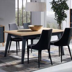 Table à manger rectangulaire en bois à rallonge Longueur 160 / 205 cm BLEUET