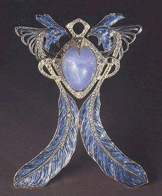 Lalique-Pendente dei due galli.Oro,smaltidiamanti,zaffiri -Parigi,1902