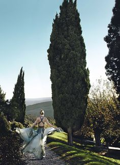 Lanvin and a cypress-lined path