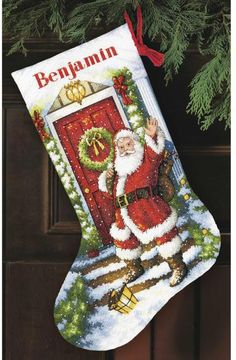 cross stitch christmas stocking patterns | This counted cross stitch Christmas Stocking kit features Santa Claus ...