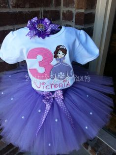 Disneys Sophia the First inspired tutu is perfect for a Princess Sophia Birthday Party or her trip to Disney. This tutu features lavender tulle