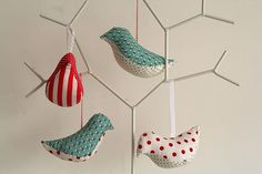 cute patchwork bird ornaments using The X-ACTO Designer Series Pink Retractable Knife