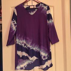Chicos 0 Tie Dye Tunic Chicos tye dye high low tunic size 0. V-neck 3/4 sleeves 100% polyester, never worn. Purple, white, Aqua, and dark purple. Smoke free pet free home! Chico's Tops Tunics