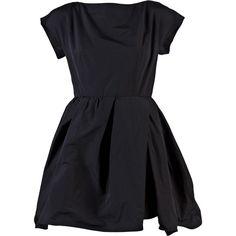 CARVEN TAFFETA BOW BACK DRESS ($570) ❤ liked on Polyvore featuring dresses, vestidos, black, - dresses, women, drape neck dress, taffeta dress, ruched waist dress, open back dresses and open back bow dress