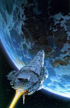 Science fiction and space art for your eyes - Art by John Conrad Berkey Spaceship Art, Spaceship Concept, Concept Ships, Concept Art, Arte Sci Fi, Science Fiction Kunst, Science Art, Space Fantasy, Sci Fi Fantasy