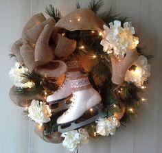 Ice Skate Wreath Winter wreath Christmas wreath  Door by 6miles, $75.00