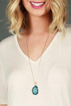 One Precious Stone Necklace in Blue