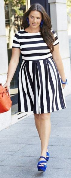 A fit and flare dress is flattering on all shapes!! Try one with a fun print like these stripes to amp up your look! What's your favorite pattern to wear in the winter? Would you wear this look?
