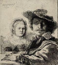 Rembrandt Harmensz. van Rijn, Selbstbildnis mit Saskia, 1636 © Albertina, Wien  #love #couples #art #arthistory #baroque #Rembrandt #drawings #graphicart #prints #albertina