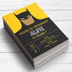 Batman invitaciones, invitaciones de cumpleaños de Batman, invitaciones de niños, cotillón Batman, invitación a grupo de superhéroes, Batman, tarjeta plana, impreso