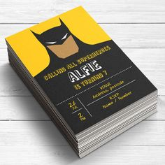 12 fully personalised Superhero Batman birthday party invitations. Each invitation is printed onto 300gsm card and hand cut to ensure the highest quality.  ***************************************************  WANT TO PRINT AT HOME? If you are on a tight timescale, or would like to print the invitations yourself, purchase this digital download listing stating the style of invitation you would like…