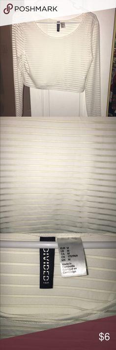 White crop top White crop top, see thru, white lines, long sleeve. H&M Tops Crop Tops