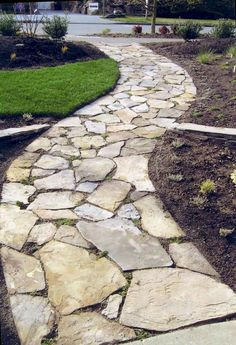 Beautiful Walkway Designs and Ideas A stone walkway leading to my front door, and maybe one tracing the backyard. Beautiful Walkway Designs and Ideas A stone walkway leading to my front door, and maybe one tracing the backyard. Rock Walkway, Flagstone Walkway, Slate Walkway, Rock Path, Flagstone Flooring, Front Yard Landscaping, Landscaping Ideas, Backyard Patio, Inexpensive Landscaping