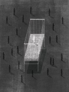 Keith Negley. Crib Cage.    A personal piece about the isolation felt when you're the first of your friends to have a child.