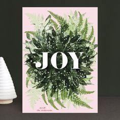 """Joy Wreath"" - Holiday Cards in Snow by Phrosne Ras. Christmas Card Template, Merry Christmas Card, Christmas Themes, Christmas Holidays, Christmas Cards, Christmas Decorations, Paper Dahlia, Vintage Wreath, Holiday Postcards"