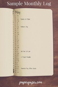 Here's a sample monthly log from The Paper Gazer's post on How to Start a bullet journal. This post is great for learning how to bullet journal and has lots of different spread ideas!