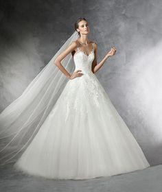 Prala, robe de mariée en dentelle, pierres fines