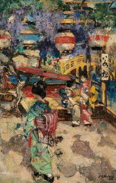 Japanese Street Scene with Lanterns and Bridge Edward Atkinson Hornel c. 1894