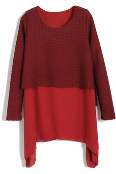Two-pieces Thread Asymmetric Red Dress