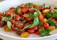 This simply prepared salad is packed full of flavuor and sings of dining alfresco. Salad Recipes, Healthy Recipes, Crab Salad, Balsamic Glaze, Tomato Basil, Summer Salads, Cherry Tomatoes, Plant Based, Menu