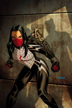 Silk Vol 1 cover by Dave Johnson Marvel Comic Books, Marvel Art, Comic Book Characters, Marvel Dc Comics, Marvel Characters, Marvel Heroes, Comic Character, Comic Books Art, Comic Art