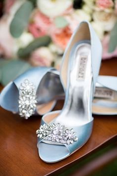 Satin blue Badgley Mischka heels  with <3 from JDzigner www.jdzigner.com