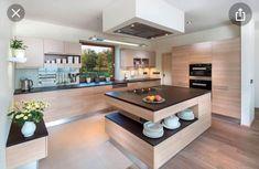 Modern Kitchen Interiors, Luxury Kitchen Design, Kitchen Room Design, Kitchen Cabinet Design, Kitchen Layout, Home Decor Kitchen, Interior Design Kitchen, Kitchen Furniture, Modern Studio Apartment Ideas