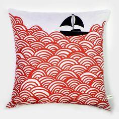 Bigger Boat throw pillow Crimson by mengseldesign on Etsy, via Etsy.
