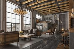 Here are 40 of our best picks for most beautiful loft living spaces! Read what is a loft apartment and loft style. Get ideas for your loft homes. Loft Estilo Industrial, Design Industrial, Vintage Industrial Decor, Industrial Interiors, Industrial Living, Industrial Style, Industrial Lamps, Industrial Bedroom, Kitchen Industrial