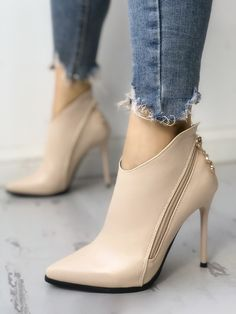 Shop Solid Zipper Design Pointed Toe Thin Heels right now, get great deals at Jo., heels pumps Shop Solid Zipper Design Pointed Toe Thin Heels right now, get great deals at Jo. Shoes Heels Pumps, Lace Up Heels, Stiletto Heels, Women's Shoes, Heeled Sandals, Flats, Shoes Sneakers, Pretty Shoes, Beautiful Shoes