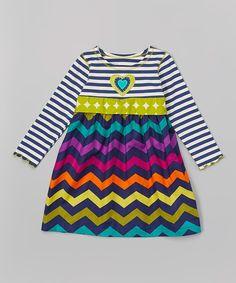 This Navy & Green Chevron Babydoll Dress - Toddler & Girls by Tutu & Lilli is perfect! #zulilyfinds
