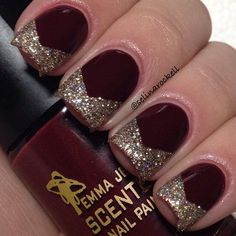 Burgundy and gold glitter nails