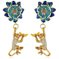 Casadei By Ilenia Corti Women Amazon Jungle Monkey Earrings (€1.075) ❤ liked on Polyvore featuring jewelry, earrings, monkey earrings, nickel free earrings, swarovski crystal earrings, earring jewelry and swarovski crystal jewelry