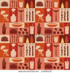 Seamless pattern of barbecue and picnic icons. - stock vector