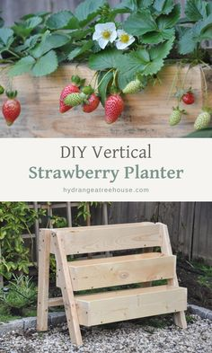DIY tiered strawberry planter, ideas of planters, tiered strawberry planters ideas, DIY tiered strawberry box planter, vertical garden idea Diy Garden Projects, Garden Crafts, Diy Garden Decor, Outdoor Pallet Projects, Garden Decorations, Diy Jardin, Strawberry Garden, Strawberry Box, Strawberry Planters Diy