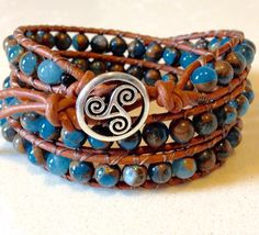 A personal favorite from my Etsy shop https://www.etsy.com/listing/510281966/blue-mosaic-stone-leather-wrap