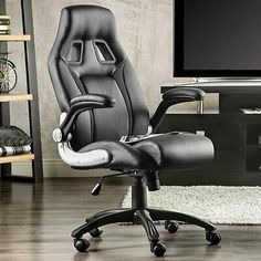 High Back Leather Office Chair Executive Boss Computer Desk Seat B #affilink Cheap Dining Room Chairs, Outdoor Furniture Chairs, Living Room Chairs, Game Room Kids, Game Room Basement, Contemporary Office Chairs, Modern Chairs, Game Room Decor, Playroom Decor