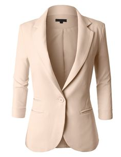 LE3NO Womens Fitted 3/4 Sleeve Blazer Jacket