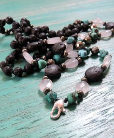 Lava, Rose Quartz, Pyrite, Turquoise, silk & silver Mala. Adjustable silver heart lock clasp so you can add, change pendants and charms to suit your mood x www.lava-links.com