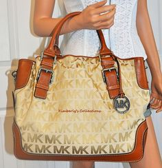 Michael Kors Bag On Sale! Large Brookville Signature Drawstring Tote Satchel Purse NWT #MichaelKors #SatchelTote