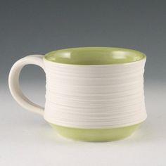 Mug Green  Modern Porcelain Groove Mug in Olive Green by kimwestad, $34.00